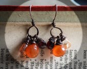Fire Drops. Copper Everyday Earrings with Carnelian, Garnet and Strawberry Quartz. Kennaz Trio. Sindri's Forge