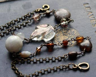 Wire Wrapped Jewelry Necklace of Beaded Chain. Skald Chains.