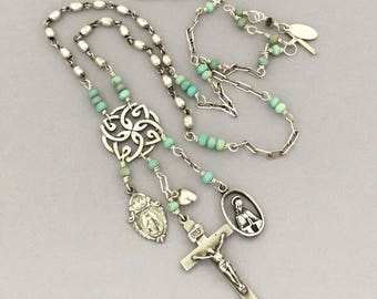 Assemblage Religious Jewelry Charm Necklace - Christian Faith Cross Medals Necklace - Antique Sterling Silver Necklace - One of a Kind Gift