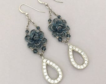 Repurposed Rhinestone Dangle Earrings - Blue Flower Summer Earrings - Long Earrings - Unique Handmade Earrings Floral Earrings Gift for Her