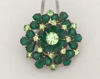 Green Rhinestone Flower Brooch - Emerald Green Rhinestone Jewelry Brooch - Vintage Rhinestone Pin - Rhinestone Statement Brooch, Mid Century