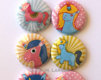 Flair Button  Unicorn set #1 buttons, 6 Flair buttons