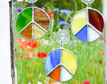 Patchwork Peace Sign Suncatcher Bohemian Boho Hippie Decor Party Decoration Window Wall Hanging Ornament