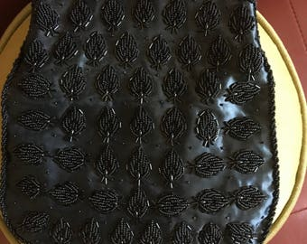Black Beaded Fold Over Clutch 60's Made in Hong Kong