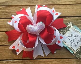 Hair bow | Valentine's Day hair bow | Hairbow | valentine hair Bow | heart hair bow | Boutique hair bow | stacked hair bow | 5 inch hair bow