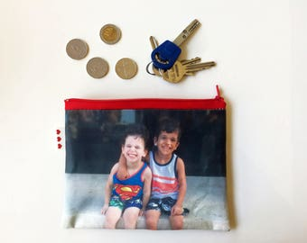 Custom Photo zipper pouch gift idea , personalized coin purse with photo of your kids, your baby, yourself, Perfect stocking stuffer