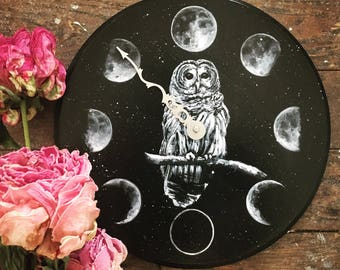 Snowy Owl Moon Phase Clock ~ Hand Painted Wood with Original Owl Painting and Victorian Clock Hand ~ Astrology Gothic Witch Altar