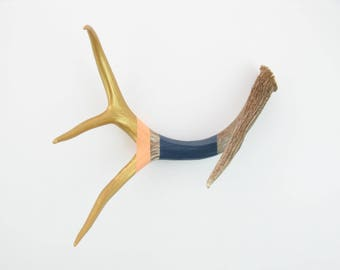 Painted Antler - LARGE - Gold, Peach & Navy Stripe - Home Decor
