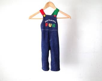 "vintage DENIM overalls COLOR block bright fun 24 month old 2T ""Let's Have Some Fun"" vintage kids clothing"