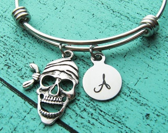 Halloween bracelet, pirate jewelry,  pirate skull Halloween gift, Autumn Fall jewelry, spooky Halloween gift, stackable charm bracelet