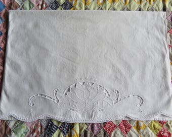 Vintage Single Pillowcase White On White Cutwork Embroidery Cotton Crochet Lace End