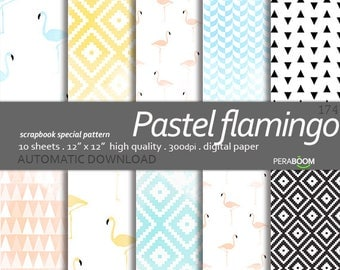 Baby Digital Paper, Pastel flamingo, Baby Girl Boy, Hearts, Watercolour Geometric Patterns for Baby Shower Invitations Web-design Commercial