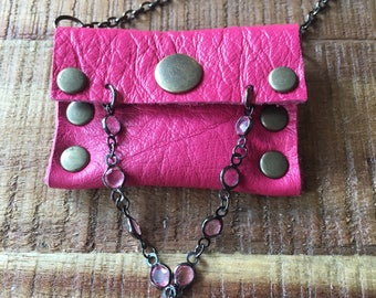 Cool Leather Jewelry - Talisman Pouch Necklace - Soft Pink Leather - Amulet Bag Necklace - Hot Pink