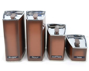 Aluminum kitchen canisters, set of 4, Lincoln Beautyware, sugar, coffee, tea, flour, sleek, retro, atomic, metal, vintage kitchen