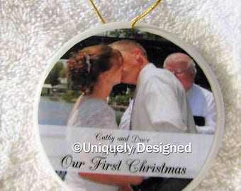 Wedding Ornament - Christmas ornament - wedding gift - Our First Christmas - Personalized - Ornament - Personalized wedding