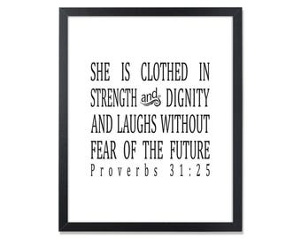 Christian gift idea etsy inspirational gifts clothed in strength and dignity inspirational wall art proverbs 31 25 bible verse christian negle Gallery