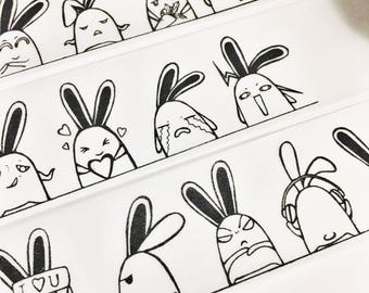 Black and White Silhouette Bunny Angry Happy Hungry Crazy Music Love Crying Emotional Bunny Cartoon Washi Tape 5.5 yards 5 meters 30mm
