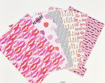 A5 Sized Lips Lipstick Makeup Eyelashes Pink Red Gold Foil Dots Kisses Laminated Dividers For A5 Filofax Large Kikki-k Recollections Planner