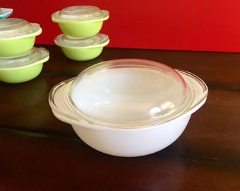 Vintage White Pyrex Opal Covered Casserole