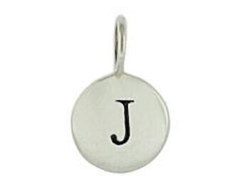 "Alphabet Charm ""J"", Silver Plated Bronze"