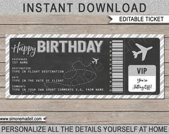 Birthday Boarding Pass Gift Ticket - Surprise Flight, Trip, Getaway, Holiday, Vacation - Voucher - INSTANT DOWNLOAD with EDITABLE text