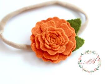 Fall Flower Headband - Pumpkin Flower Headband - Baby Flower Headband - Felt Flower Headband - Baby Pumpkin Headband