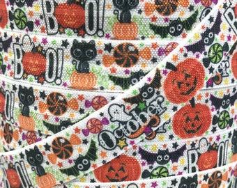 """5/8"""", Halloween FOE, October FOE, Happy Halloween, BOO, Bats, Pumpkin, Holiday Elastic, Fold Over Elastic, Elastic Hair Ties"""