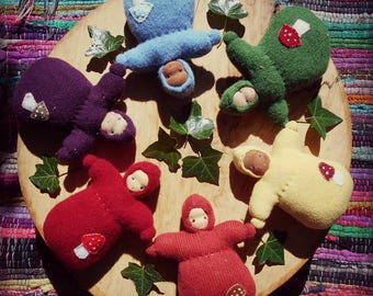 Pure wool, rainbow toadstool, Waldorf doll, cuddle dolls, made from completely natural materials