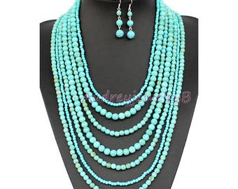 3pcs-7 layers Turquoise bead Necklace with Earrings set  for Susanne