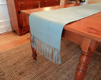 Blue Table Runner with Fringe Blue Burlap Table Runner Coastal Tablescapes Beachy Home Decor Blue Table Cloth Extra Long Table Runners