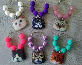 Cat Wine Glass Charms, Set of 6