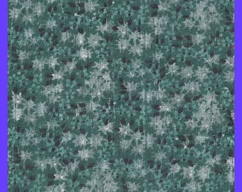 Green Floral Fabric Cotton Calico Yardage Quilting Sewing