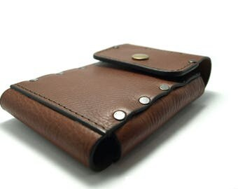 NEW style handmade Sleeve wallet from brown genuine leather iPhone models cell phone case with pocket card ID free initials belt loop