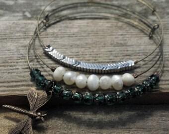 Expandable Beaded Bangle Bracelets- brass dragonfly set of 3- adjustable bangle, stacking bracelets