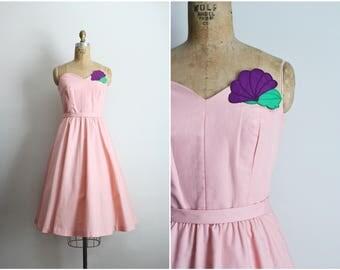 Vintage Pink Dress /Floral 50s Dress / Strapless Party Dress / 1950s Dress / Cocktail Dress / Size XS/S