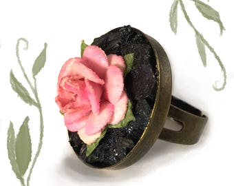 Glowing Pink Rose - Glow in the Dark Stone and Fabric Ring ADJUSTABLE SIZE