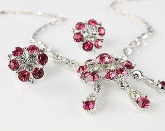 Pink Rhinestone Bogoff Necklace set, Screw Back Earrings, Rhodium plated Art Deco jewelry
