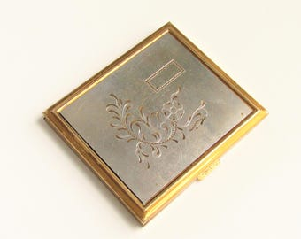 Vintage Etched Flower Powder Compact 1940s Silver Plated