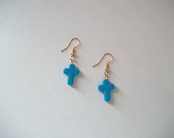 Cross Earrings, Turquoise Earrings, Small Cross Earrings, Women Earrings, Small Earrings, Bead Earrings