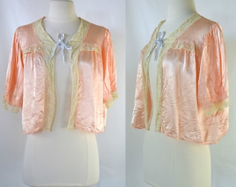 1950s  Peach Nylon Satin Bed Jacket by Debutante, Vintage Lingerie, Cropped Bed Jacket