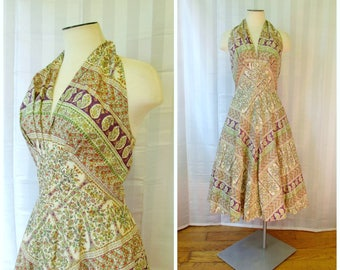 Vintage 1940s 1950s Halter Dress Sun Dress 36 38 Bust M L Purple Green Gold Beige Red Indian Motif Paisley Trees Birds Ethnic Look