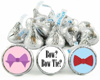 Set of 108 - Bow or Bow Tie Stickers for Hershey's Kisses. Gender Reveal Baby Shower Kisses - Boy or Girl Party Favors - #IDGBS409