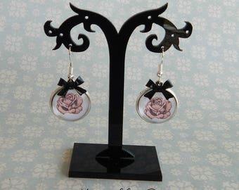 earrings pink roses