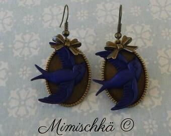 earrings pin up swallow indigo blue