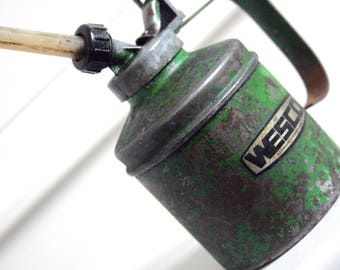 vintage english green wesco oil can