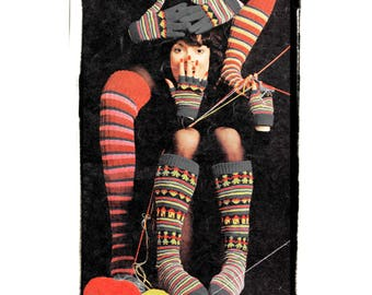 Instant Download PDF Knitting Pattern to make Striped Fairisle Over Knee Long Womens Boot Socks Thigh Length Stockings Fingerless Gloves