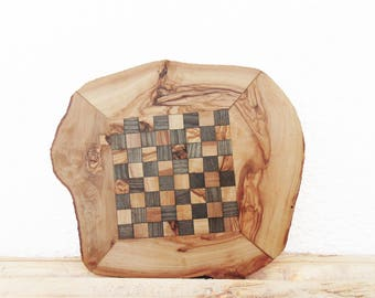 Engraved Fathers Day Gift / Personalized Unique Olive Wood Chess Board, Dad gift