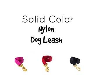 Dog Leash in Nylon Webbing, Solid Color, Gold Leash, Nickel Leash