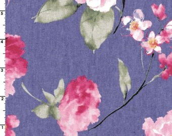 Spring Blooms - Floral Lavender Purple CANVAS LINEN from Cosmo