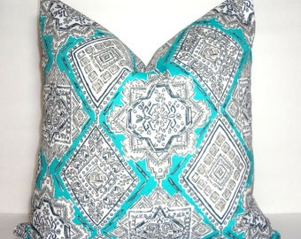OUTDOOR Aqua Blue Turquoise Grey White Milan Oriental Pattern Porch Pillow Cover Patio Decor Size 18x18